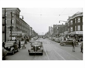 Cars rolling down 5th Avenue looking north east facing Ovington Avenue - Bay Ridge 1948  Brooklyn NY