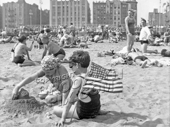 Castles in the sand at Brighton Beach, c.1950