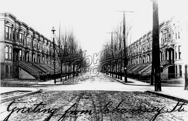 Chauncey Street looking south from Evergreen Avenue, 1909