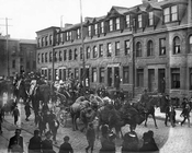 Circus procession through Fort Greene, c.1880s