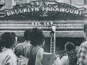 Closing of Brooklyn Paramount, to become LIU Brooklyn Campus, Flatbush Avenue Extension at deKalb Avenue, c.1962