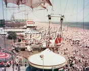 Coney Island boardwalk and beach, looking SE, seen from Parachute Jump,, 1951