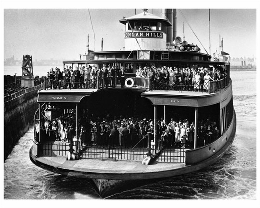 Crowded Ferry Boat in the New York Harbor Early 1910s