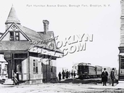 Culver Line train at Fort Hamilton Avenue [Parkway] station, ca. 1910