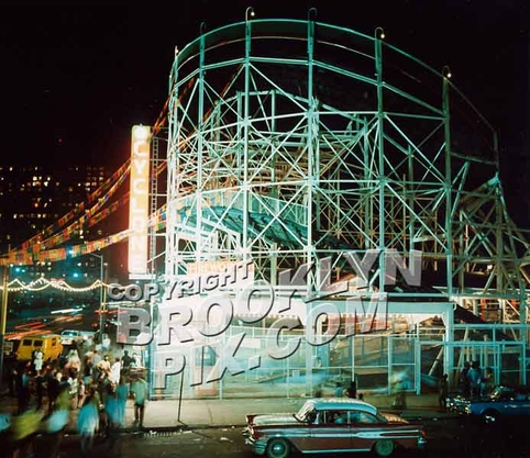 Cyclone Roller Coaster at night, ca. 1965