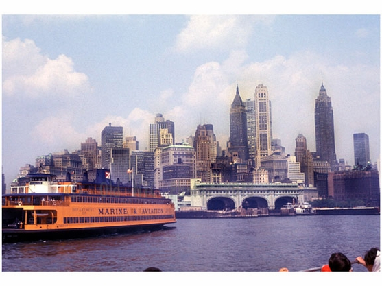 Department of Marine & Aviation City of New York Ferry with Manhattan skyline behind