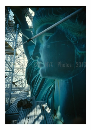 Detail, profile view of left side of face - Statue of Liberty