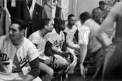 Dodger Locker Room 1957, Koufax at far left