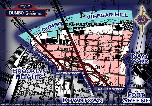 DUMBO and Vinegar Hill neighborhood borders map