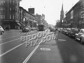 Flatbush Avenue looking south to Martense Street; Dutch Reformed Church in right background