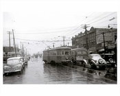 Flatbush Avenue looking south toward Avenue N with Trolleys & Classic cars passing by in the background Flatbush 1948 Brooklyn NY
