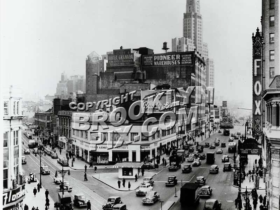 Fox Theater at Flatbush Avenue and Fulton Street, looking south, 1940s