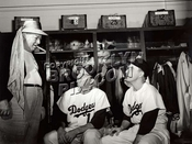 Gil Hodges and Pee Wee Reese in Dodgers Locker Room at Ebbets Field, 1950s