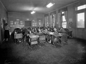 Girls' classroom, Beth Aron Yeshiva at 259 Division Avenue, 1952