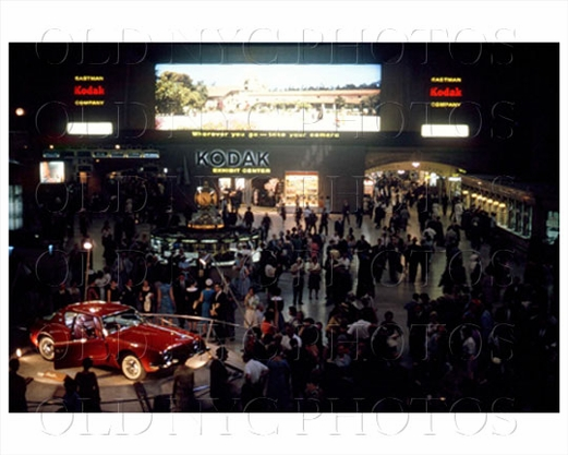 Grand Central Station NY with car and Kodak advertising 1962