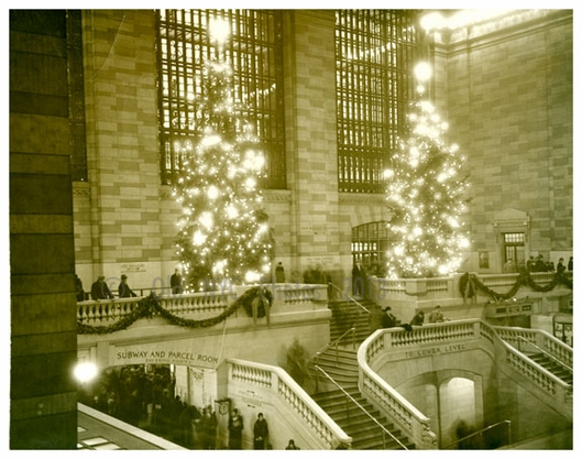 Grand Central Terminal with Christmas trees