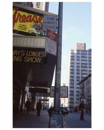 """""""Grease"""" - the longest running show on Broadway -  Theater District NYC 1970s"""