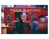 People line up outside a Hebrew National Hot dog truck