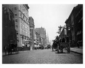 Horse & Wagons line the streets on West 29th & 5th Avenue Flatiron District 1896  NYC