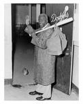 Jackie Robinson retires 1957 - seen leaving Ebbets Field locker room - mystery kitten in doorway - Flatbush - Brooklyn NY