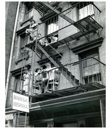 Kids hanging out on the fire escape - Brooklyn NY