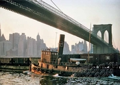 Lackawanna Railroad tugboat moving freight cars under Brooklyn Bridge, c.1950