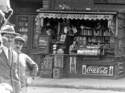 Little Italy sidewalk stand on Houston Street, 1929
