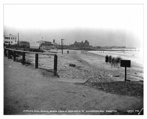 Looking east along the beach 1920