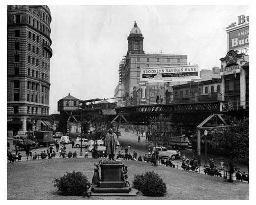 Looking north from Borough Hall steps toward Civic Center 1940