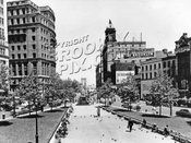 Looking north from the steps of Borough Hall showing Eagle Building tower at center, early 1950s