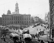 Looking south from Court and Fulton Streets, 1880s
