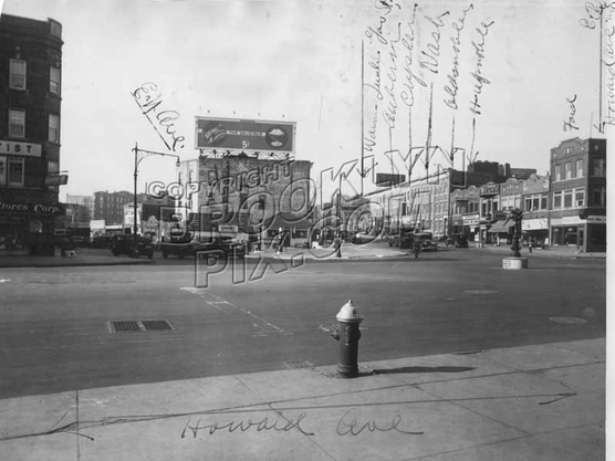 Looking west from Howard Ave. showing Automobile Row along Pitkin Ave., ENY Avenue on the left, 1930