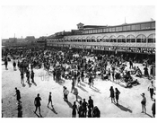 looking west from Steeplechase pier showing Sunday crowd on the beach 1922