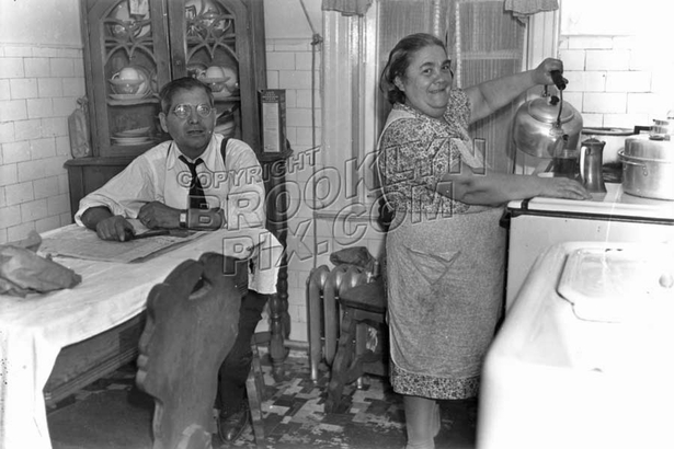 Mama and Papa in the kitchen, 1935