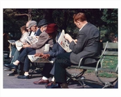 Men line the benches, reading the Sunday paper in Central Park - Manhattan 1965 NYC