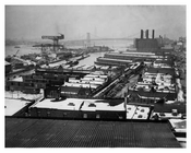 Navy Yard view of the docks, Williamsburg Bridge & some of the New York City Skyline - Brooklyn NY 1941