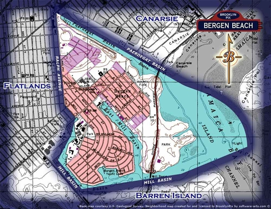 Neighbor borders map of Bergen Beach