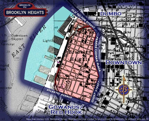Neighborhood borders map for Brooklyn Heights
