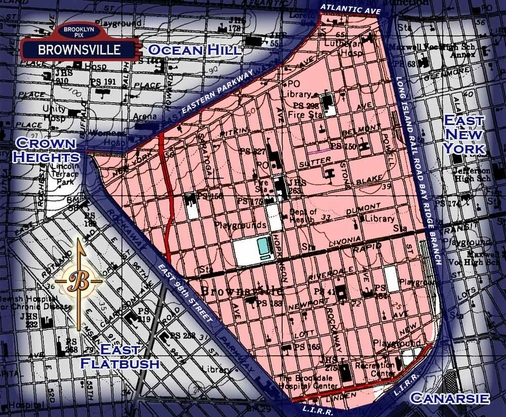Neighborhood borders map for Brownsville