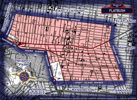 Neighborhood borders map for Flatbush