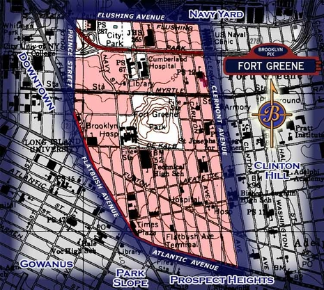 Neighborhood borders map for Fort Greene