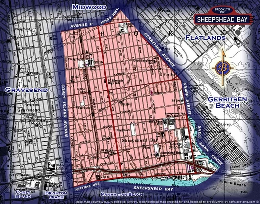 Neighborhood borders map for Sheepshead Bay