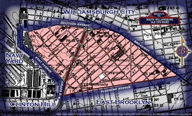 Neighborhood borders map for South WIlliamsburg / Old 19th Ward