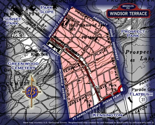 Neighborhood borders map for Windsor Terrace