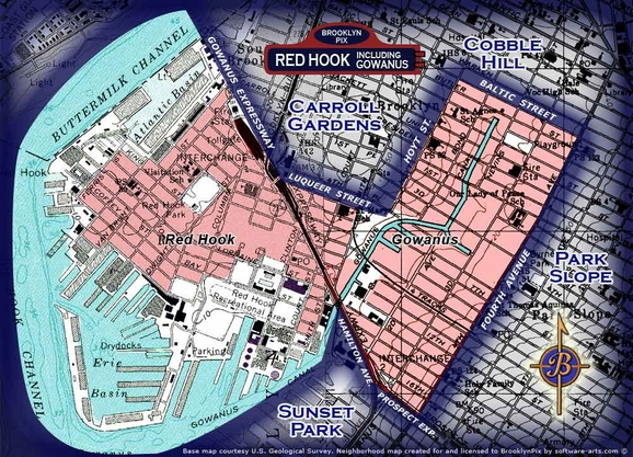 Neighborhood map for Red Hook and Gowanus