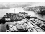 New York Barge Canal, Gowanus  Bay Terminal Pier - view looking southwest, surrounded by barges