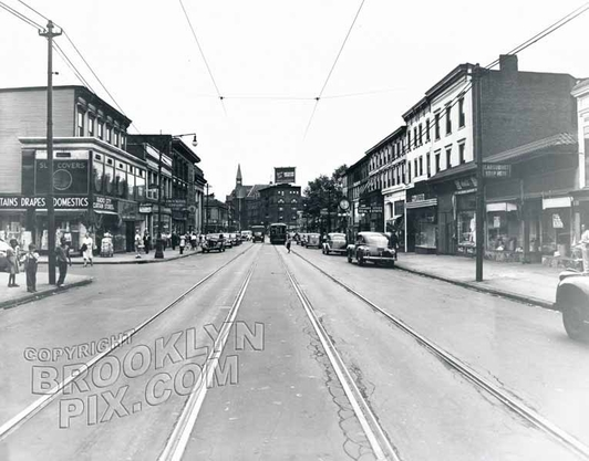 Nostrand Avenue looking north to Herkimer Street, 1944