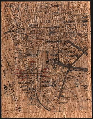 Old map of Lower Manhattan