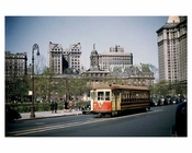 Park Row Trolley passing in front of City Hall 1947 - Civic Center Downtown Manhattan- New York, NY