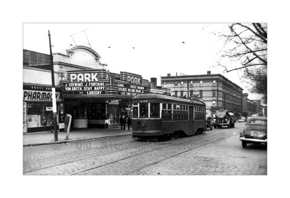 Park Theater with Fort Hamilton Trolley passing in front